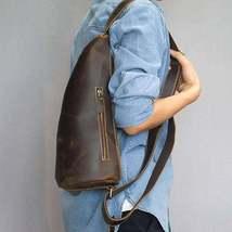 On Sale, Horse Leather Men Chest Pack, Handmade Chest Bag, Messenger Bag image 3