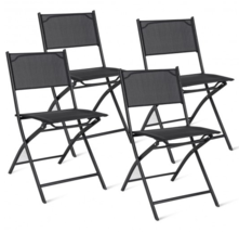 Outdoor Indoor Folding Chairs Camping yard Deck Garden Steel Set of 4  - $101.99