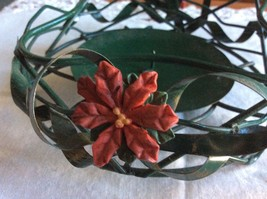Christmas Pillar Candle Holder with Nail to Support Candle, Poinsettia a... - $7.50
