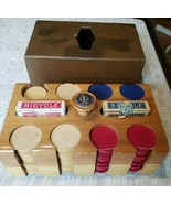 1940s U.S. Playing Card Co Branded 199 Wood Poker Chips, Caddy, 2 decks ... - $77.39
