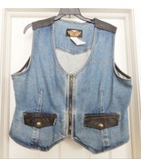 HARLEY-DAVIDSON Motorcycles Denim Motorcycle Vest Leather Trim Biker Wom... - $59.35