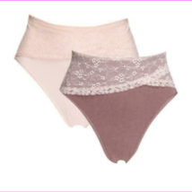 Rhonda Shear 2 pack Seamless Lace Overlay Brief Set, Mocha/Cloud Pink, 2X - $4.40