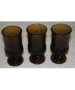 Halloween Goblets Set 3 Vintage Fostoria Sorrento Brown Glass Footed Gla... - $24.70