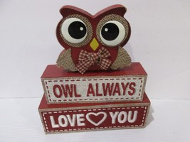 Valentines Day OWL ALWAYS LOVE YOU Wood Sign Decor Decoration - $17.99
