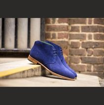 Handmade Men's Blue Suede High Ankle Lace Up Chukka Boots image 1