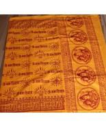 Hindu Orange Religious Shawl Prayers OM NAMAH SHIVAY Mantras Yoga Altar ... - $17.81