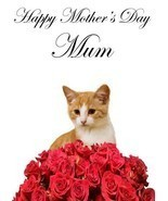 Cat roses A5 Mother's Day Greeting Card Mother mom Coderose4 - $4.26