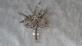 signed Azur Austria clear rhinestone pin brooch flower vintage spray rare - $31.00