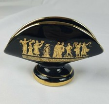 Vintage napkin holder ceramic 24k gold paint black hand made Greece - $29.60