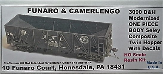 Funaro & Camerlengo HO D&H Seley twin hopper, modernized ONE PIECE BODY Kit 3090
