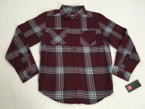 Primary image for NWT Quiksilver Boys M 12 Burgundy Plaid Brushed Button Front Shirt Medium