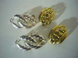 Vintage Vendome Earrings Clips 2 Pairs Goldtone Chain Silvertone  - $7.52