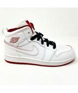 Nike Jordan 1 Mid BP White Gym Red Black Youth Size 1.5 Shoes 640734 103 - $79.95