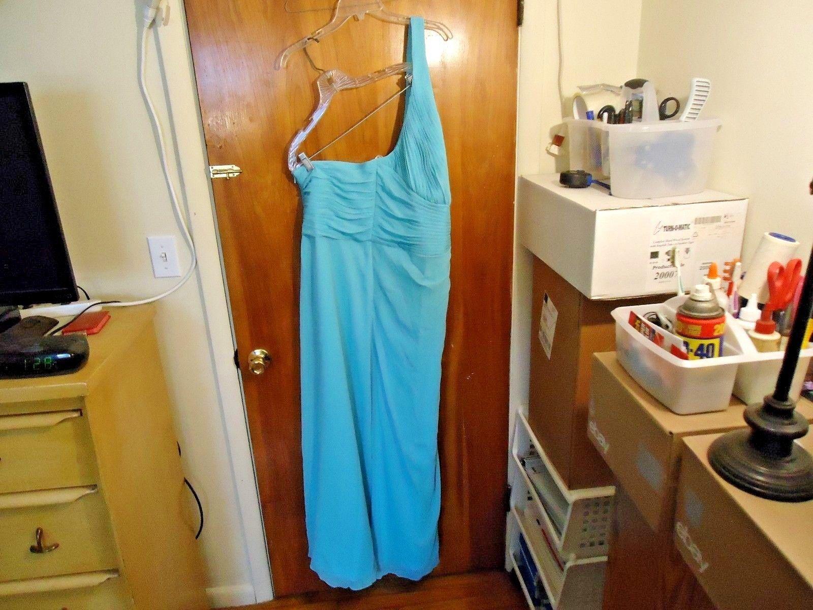 "Womens Davids Bridal "" NWT "" Size 18 Color Pool One Shoulder Dress "" BEAUTIFUL """
