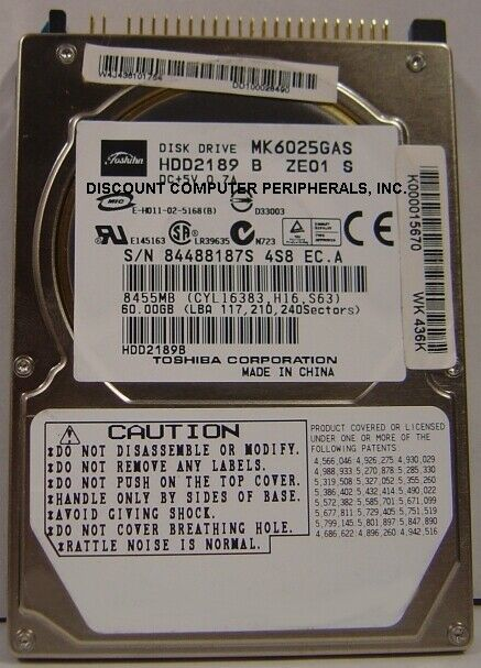 "NEW MK6025GAS Toshiba HDD2189 60GB 2.5"" 9.5MM IDE 44PIN Hard Drive Free USA Ship"