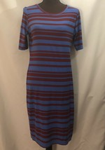 LULAROE Julia Short Sleeve Dress, Sz M, Blue with Red Stripes - $19.34