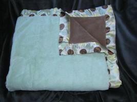 BLANKETS & AND BEYOND LIGHT MINT GREEN BROWN WHITE YELLOW POLKA DOT BLAN... - $89.09