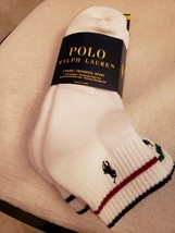 POLO RALPH LAUREN LOGO MEN'S WHITE TECHNICAL SPORT QUARTER SOCKS 3 PAIRS... - $13.49
