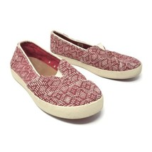 Toms Womens Size 5 Slip On Casual Sneakers Red White Fabric Woven Flats image 2