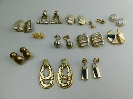 Vintage Lot Of 12 Pairs Of Clip On Earrings Gold Tone   A2 - $19.59
