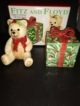Fitz and Floyd 2003 Teddy's Christmas Gift Salt and Pepper Shakers - $9.50