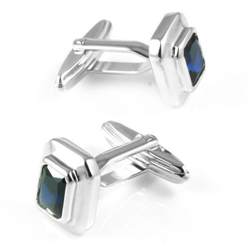 925 Sterling Silver Natural Blue Sapphire Gemstone Handcrafted Men's Cufflink