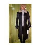 New Dewangqi Black LEATHER Lined Coat Seal Gray Trim кожаное пальто Grea... - $200.00