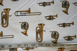 1/2yd Music/Trumpet/French horns instruments on ivory quilt fabric-free shipping image 4