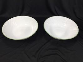"(1) Corelle Callaway 8"" Round Vegetable Bowl White Green Rim  - $14.99"