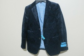 T.O. Boys Paisley Blue On Blue Velvet 2 Button Blazer Jacket Size 7 - $33.87