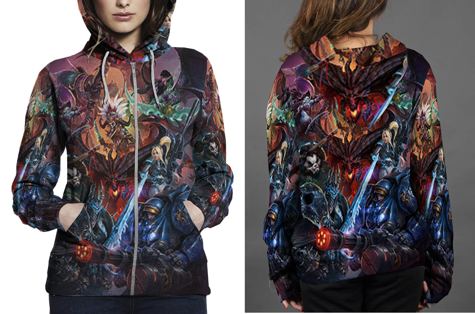 Heroes of the storm key art zipper hoodie women s