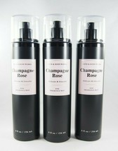(3) Bath & Body Works Champagne Rose Black Pink Fragrance Spray Mist 8oz... - $33.15