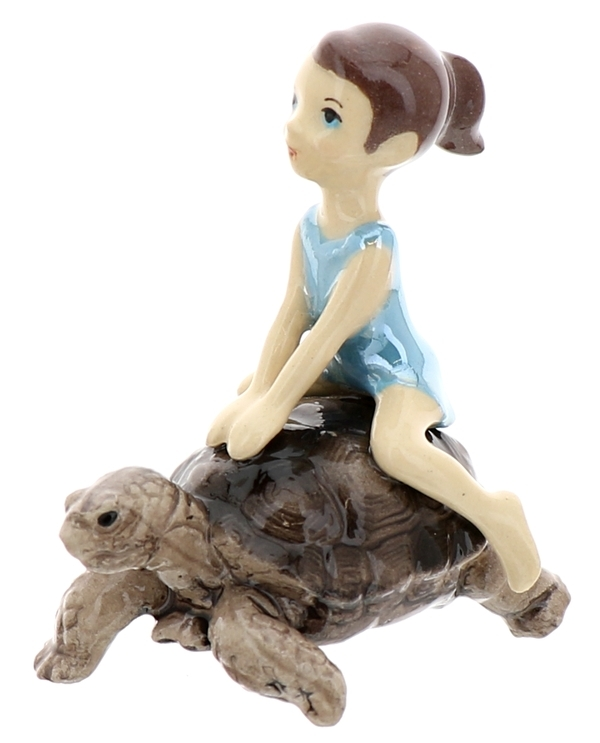 Hagen-Renaker Miniature Ceramic Turtle Figurine Desert Tortoise with Girl Riding