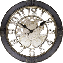 "Gears 16"" Large Brushed Oil Rubbed Bronze/Black Wall Round Wall Clock, Q... - $34.54"