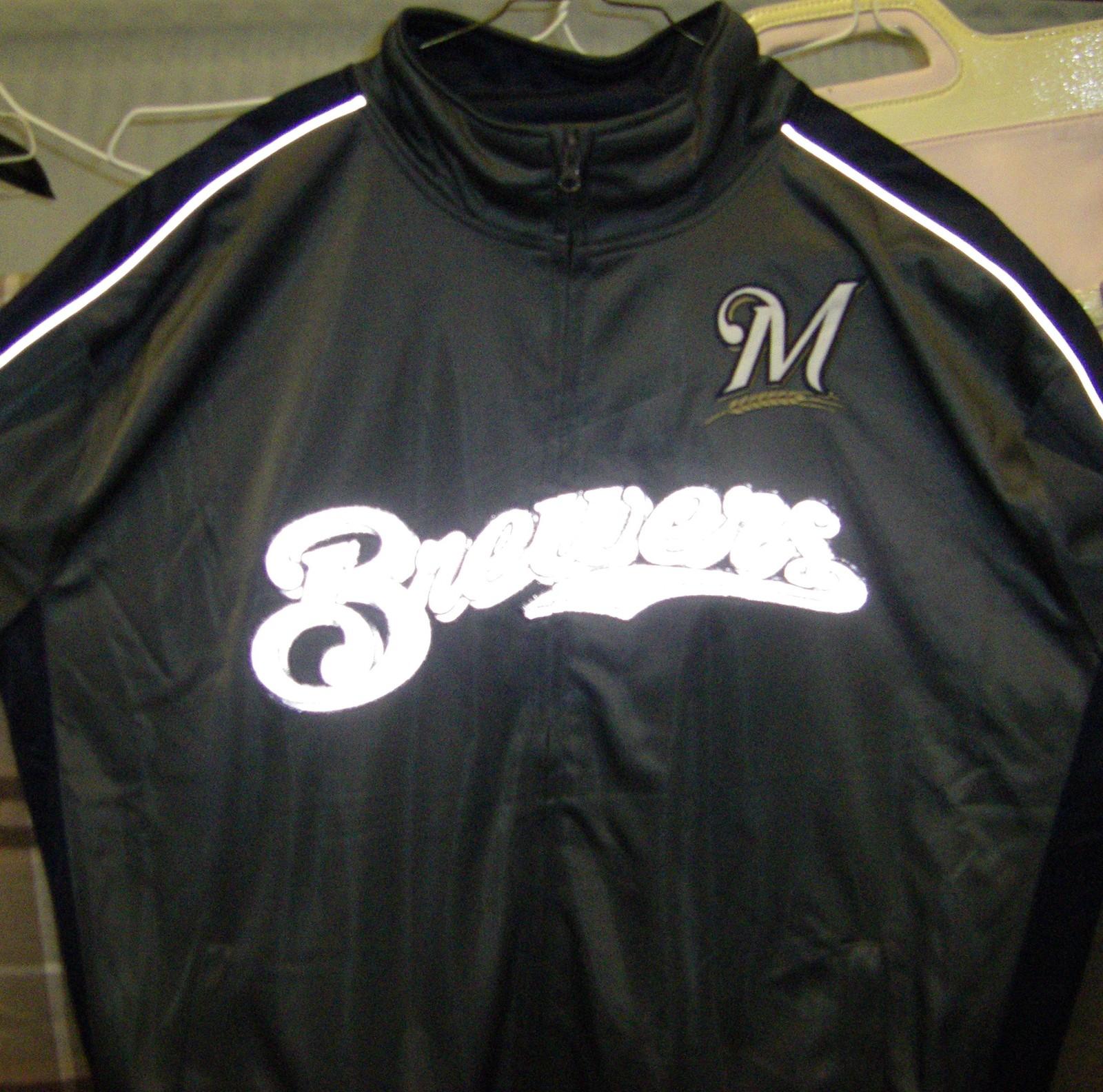 MLB Milwaukee Brewers Men's Big & Tall Full Zip Tricot Reflective Track Jacket