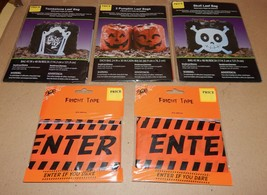 "Halloween Fright Tape 2ea & Skull Pumpkin Tombstone Leaf Bags 3ea 45"" x ... - $7.49"