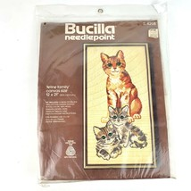 Feline Family Cat and Kittens Needlepoint Kit 12 x 21 Inch Canvas Bucill... - $39.59