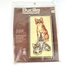 Feline Family Cat and Kittens Needlepoint Kit 12 x 21 Inch Canvas Bucilla 4208 - $39.59