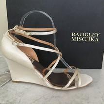 Badgley Mischka Bonanza Ivory Satin Women's Evening Wedge High Heels San... - $193.05