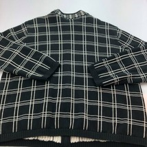 Talbots Zip Cardigan Sweater Womens 2X Black Cotton Crew Neck A9-11 - $26.07