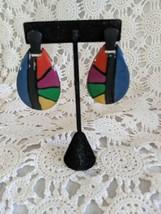 Ladies Black Multi Colored Post Pierced Earrings - $2.90