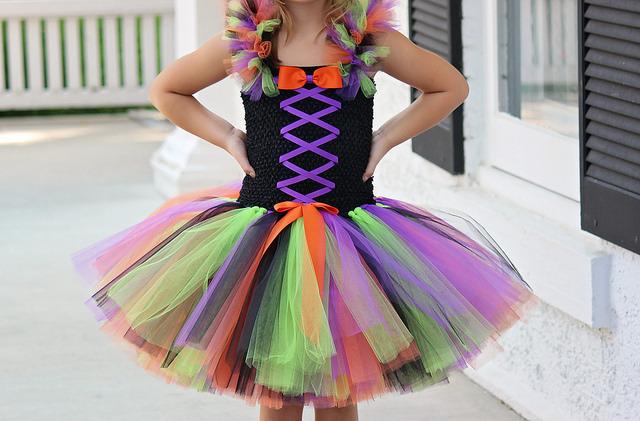 Girls Witch Tutu Costume, Orange, Black, Pink Witch Tutu Dress, Black Witch Tutu