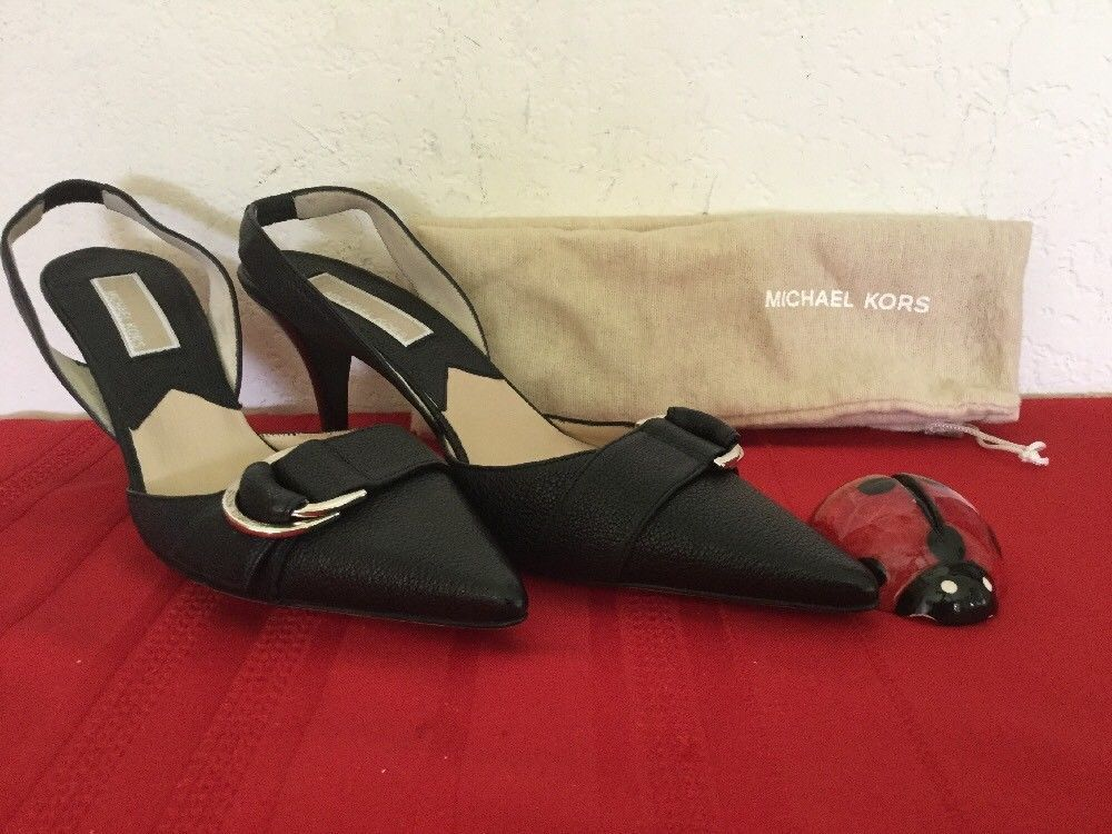 Primary image for Michael Kors  Womens High Heel Slingback Black Leather  Sz 7M