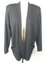 St John Sépare Santana Tricot Veste M Ouvert Noir avant Fabriqué en USA ... - $98.98