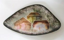 Vintage Sascha Brastoff  Art Pottery Tray Dish Dark Houses Triangular MC... - $23.76