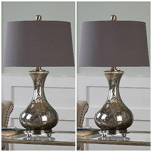 "PAIR URBAN MODERN 29"" DISTRESSED MERCURY GLASS TABLE LAMP BRUSHED NICKEL... - $435.60"
