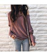 Women Loose Casual off Shoulder Long Sleeve Knit Sweater Blouse Tops T-S... - $26.00