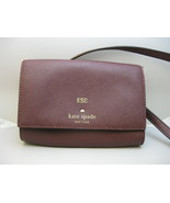 Kate Spade Burgundy Leather Small Purse Crossbody Bag Clutch Personalize... - $29.69