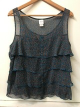 Mossimo Teal Blue Floral Sheer Layered Top Shirt Tank Womens Size XL Extra Large - $14.95