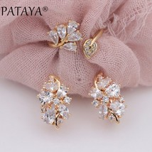 PATAYA New 585 Rose Gold Multicolor Water Drop Natural Zircon Dangle Earrings Up - $20.77